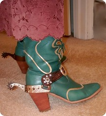 Cowgirl with Attitude (Cowgirl Boot Fan) Tags: spurs belt highheels leatherskirt suedeskirt cowgirlboots