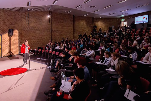 Annie conversing with audience TEDxYouth@Bunbury