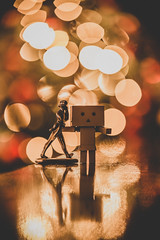 You'll never walk alone (Vagelis Pikoulas) Tags: johnnie walk walker danbo bokeh light lights long exposure christmas reflection reflections canon 6d tamron 70200mm f28 vc