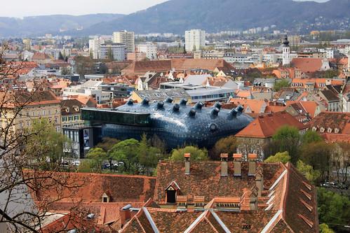 Vista de Graz. Kunsthaus. JX3.