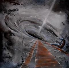 """""""The next universe"""" - Alkyd color on paper 60x60 cm by Corrado Leoni (LeoniArt) Tags: universe black hole buco nero spazio light surreal"""