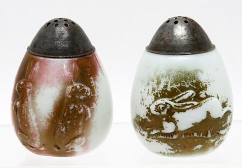 1890's Milk Glass Easter Rabbit Shakers ($145.60)