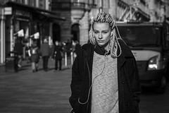 Tied Up (Leanne Boulton) Tags: people monochrome portrait urban street candid portraiture streetphotography candidstreetphotography candidportrait streetportrait eyecontact candideyecontact streetlife woman female pretty girl face facial expression look emotion feeling eyes braids beauty beautiful hair style stylish fashion corduroy knots tone texture detail depthoffield bokeh separation naturallight outdoor sunlight light shade shadow city scene human life living humanity society culture canon5d canon 5dmarkiii 70mm character ef2470mmf28liiusm black white blackwhite bw mono blackandwhite glasgow scotland uk