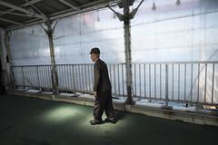 福岡県北九州市若松区|若戸渡船 / FUJI X-E2 × FUJINON XF 14mm F2.8 R (mokuu) Tags: bridge light ferry oldman 光 老人 歩く 渡船 桟橋