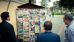 Peru - Lima - Morning Paper (tenkai2002) Tags: people men peru stand newspaper lima barranco