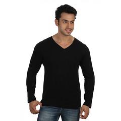 Black Slub Slim V Neck-Full Sleeve-5