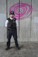 Shoreditch Bridge Portraits 219, Shoreditch High Street, London, 1 July 2015 (Dr John2005) Tags: city bridge portrait urban london concrete unitedkingdom police shoreditch metropolitian