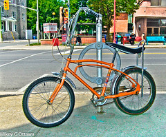 CCM Mustang Bicycle -  Ottawa 06 15 (Mikey G Ottawa) Tags: street city ontario canada bike bicycle ottawa sidewalk filter 70s 1970s 1972 velo fahrrad edit ccm 3speed bananaseat edgefilter adobelightroom mikeygottawa ccmmustang highrisehandlebars