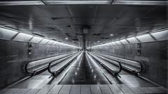 Moving walkways (waynedavey67) Tags: canon 6d 1635mmlf4 spain barcelona transport blackandwhite wideangle urban industrial steel manmade city metro underground movingwalkway lights