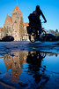 Cityhall reflections w/ bicycle @ Zeist (PaulHoo) Tags: reflection city urban citylife puddle water cityhall 2016 fujifilm x70 blue sky architecture pov cycling bicycle transport mother child