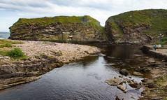 SCE_0316 (staneastwood) Tags: stanleyeastwood staneastwood berriedale scotland caithness water river stream sea shore shoreline seashore cliff rock rockface coast crag mountainside rockformation creek boat