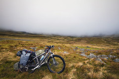 Cross Fell along the Pennine Way, Cumbria (hezitate) Tags: mtb cycling bike ride offroad outdoor outside mountain fells fog mist cloud riding bikepacking camping panniers ortlieb carrera carrerafury mountainbike atb bicycle wheels moors scenery landscape open hiking walking greatoutdoors cumbria crossfell dunnfell remote sparse alone morning refreshing