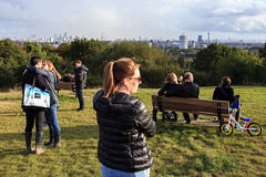 Parliament Hill, London (jaumescar) Tags: london park hampsted heath parliament hill people city skyline lovers couple girl bicycle bench sunny day green sky cloudy dof group relax