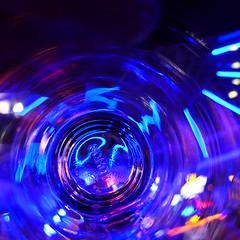 Shooting through glass (PaulHoo) Tags: solden austria apres ski bar glass macro abstract blue color vivid vibrant shape texture 2017 lumix square squareformat