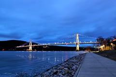 Poughkeepsie Blue Hour (MRD Images) Tags: poughkeepsie ny newyork midhudsonbridge bridge bluehour hudsonriver river canon eos 5d markiii longexposure beauty light lighting path shadows newyorkstate empirestate night pro