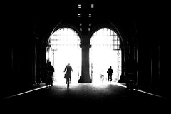 From the Other Side (parenthesedemparenthese@yahoo.com) Tags: dem amsterdam bn bw backlighting blackwandwhite blancetnoir cyclistes ete femme gates men monochrome nb netherlands noiretblanc rijksmuseum silhouettes streetlamps woman canoneos600d contrejour cyclists day ef50mmf18ii entredeux grandcontraste highcontrast hommes inbetween journee ombres portes summer wall