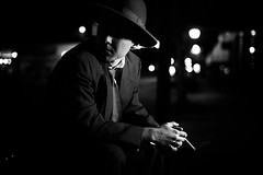 NOIR IV (giladvalkor) Tags: noir suit hat blackandwhite bw monochrome alley 1940s 1950s cigarette smoking darkphotography shadows night creepy scary man concert people contrast