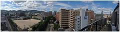 (Danburg Murmur) Tags: school sky panorama tower japan clouds cityscape balcony officebuilding hiroshima  nippon railing playingfield nihon    nihonkoku nipponkoku