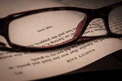 paper lens reading glasses book words focus letters theend literature read finish eyeglasses finishing lenses vanityfair flickrfriday sightforsoreeyes