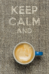 keep calm (le cabri) Tags: cactus white cup coffee cafe ceramics coffeecup coffeeshop calm drinks mug espresso cloth caffeine hessian whitecup bluecup wording keepcalm whiteletters keepcalmand hessiancloth