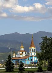 Peter and Paul church, Almaty (monorail_kz) Tags: blue summer sky mountains church clouds russian orthodox kazakhstan almaty peterandpaul alatau alfarabi