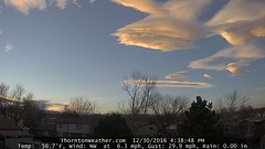 December 30, 2016 - Webcam captures sunset lenticular clouds. (ThorntonWeather.com)