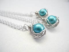 Knottin' Pearls Robin's Egg Blue (elmangels) Tags: robins egg blue nests bird birdnests love silver jewelry style accessories knottin pearls necklaces etsy amazon shop shopping cultured freshwater designs wire wrapped handmade artisan artist product photography