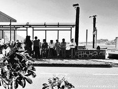 Waiting for the bus (Ricardas Jarmalavicius) Tags: blackandwhite blackandwhitephotography blackwhite noiretblanc photography photographize photooftheday photographie photo iphoneography iphonephotography iphone6s wipplay mobilephotography mobiography mobitog mobilemag adorenoir candid people oldpeople tenerife travel bus sea seascape seaside jarmalavicius ricardasjarmalavicius 121clicks viewbug flickr flickrsocial bestphoto bnw bw street streetphotography straat streetphotographer theappwhisperer monochrome