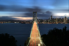 Home for the Holidays (AJ Brustein) Tags: bay bridge san francisco sf light trails taillights baybridge treasure island yerba buena navy ground straight city skyline cityscape water reflection long exposure aj brustein 5dm3 5d mark iii blue hour holidy lights sunset downtown clear night winter christmas
