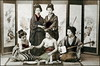 Teahouse Girls (ookami_dou) Tags: vintage japan girls shamisen 三味線 sake 酒 erotic drinking music teahouse tinted handcolored