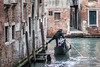 gondolier takes a sharp left, Venice, Italy (LeeHoward) Tags: venice italy gondola gondolier gondoliere canal