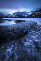 Rundle's Rise (A O'Brien) Tags: mtrundle vermilionlakes banff alberta canada ice winter mountains canadianrockies sunrise water clouds sky
