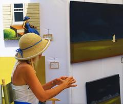 LIFE IMITATES ART (akahawkeyefan) Tags: woman artist paintings desmoines davemeyer hat straw