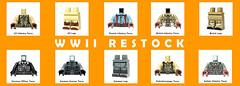 Back in stock! (BrickWarriors - Ryan) Tags: brickwarriors custom lego minifigure weapons helmets armor torso legs german usa britain ww2 military war world italian printed