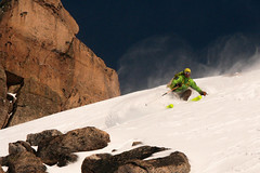 guide skiing some fresh in catedral slackcountry