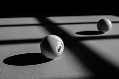 9 Ball (Thru Mikes Viewfinder) Tags: pool table felt balls nineball cueball game shadows monochrome bw dof bokeh pattern sunlight