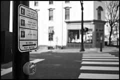 Street crossing sign, Doylestown, PA (pfarkas67) Tags: blackandwhite monochrome olympus sidewalk pa doylestown crosswalk buckscounty omd em10 17mmf18
