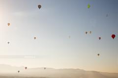 Balloons. (¡arturii!) Tags: morning sky mountains hot nature up sunrise landscape flying colorful europe balloon catalonia full points heat catalunya dots viewpoint globo globus igualada europeanballonfestival