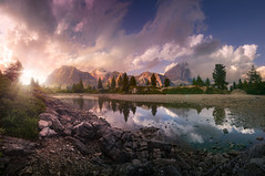 Airglow (@hipydeus) Tags: sunset lake mountains alps clouds reflections rocks dolomites dolomiten