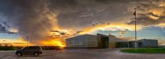 Sunset (Chains of Pace) Tags: storm oklahoma car architecture clouds landscape flag guymon cloudsstormssunsetssunrises