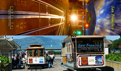 Cable Car Sunset and Cable Car Daylight Bookmark, San Francisco (Vern Krutein) Tags: sanfrancisco california city travel usa color history tourism architecture structure historic american archives scenics bookmark photovaultarteditions