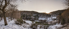 Neidpath Gorge (Scotty Rae) Tags: neidpathcastle neidpath castle scotland scottishborders peebles peeblesshire tweeddale river rivertweed water trees forest winter snow frost panorama tweed valley gorge dusk sunset viewpoint