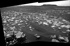 Butte and Flat Vicinity near Curiosity (sjrankin) Tags: 21december2016 edited nasa grayscale mars galecrater msl curiosity butte navcam mountsharp sky