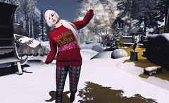 "Look#243 - ""I've been a very 'good' girl!"" (LoneSolitarian) Tags: second life secondlife sl virtual dark light shadow art firestorm gimp photography windlight photo sim 3d lumipro female woman feminine girl human avatar people beauty model charm lovely attractive fashion lone blonde nature landscape scenery romance serene winter snow christmas xmas"