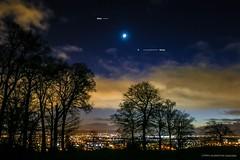 Mars, Crescent Moon & Venus over Glasgow (john&mairi) Tags: crescent moon earthshine mars venus planets evening star glasgow castlehill drumchapel antonine wall trees clouds light pollution sunset night
