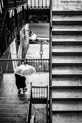 Rainy day (Simone.Marengo) Tags: street rain umbrella bn bw staircase scale strada ombrello