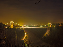 The Yellow Sky at Clifton Suspension Bridge (RS400) Tags: cool wow wicked clouds clifton suspension bridge bristol sky water olympus uk trees tree night time amazing