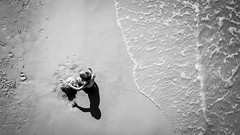 A child on the beach - Florida, United States - Black and white street photography