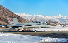 F18 Hornets  Taxi off the Runway at the stunning SION Airfield (markranger) Tags: f18 hornet swiss sion wef snow jey fastjet davos