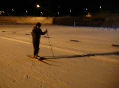 cross country skiing at night